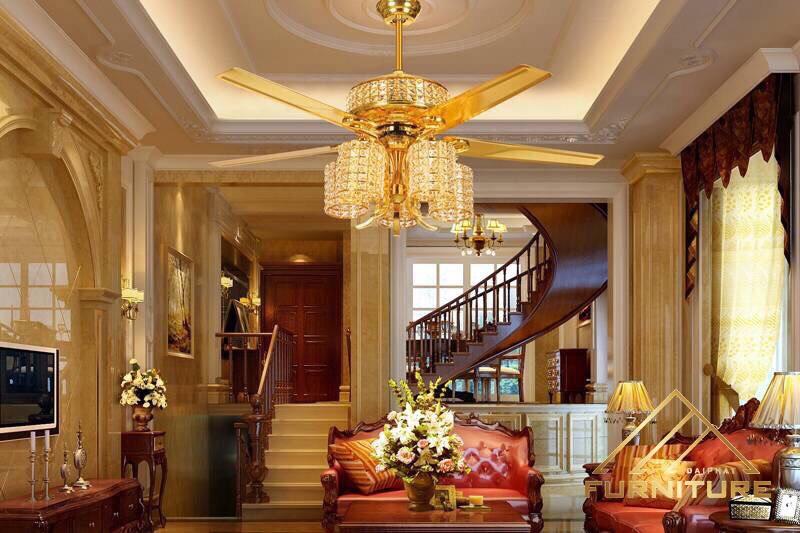 Bán quạt trần liền đèn chùm hiện đại trang trí phòng khách giá rẻ tphcm
