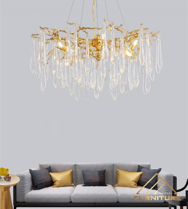 Giá các loại đèn chùm pha lê trang trí phòng khách cao cấp hiện đại đẹp rẻ tại tphcm