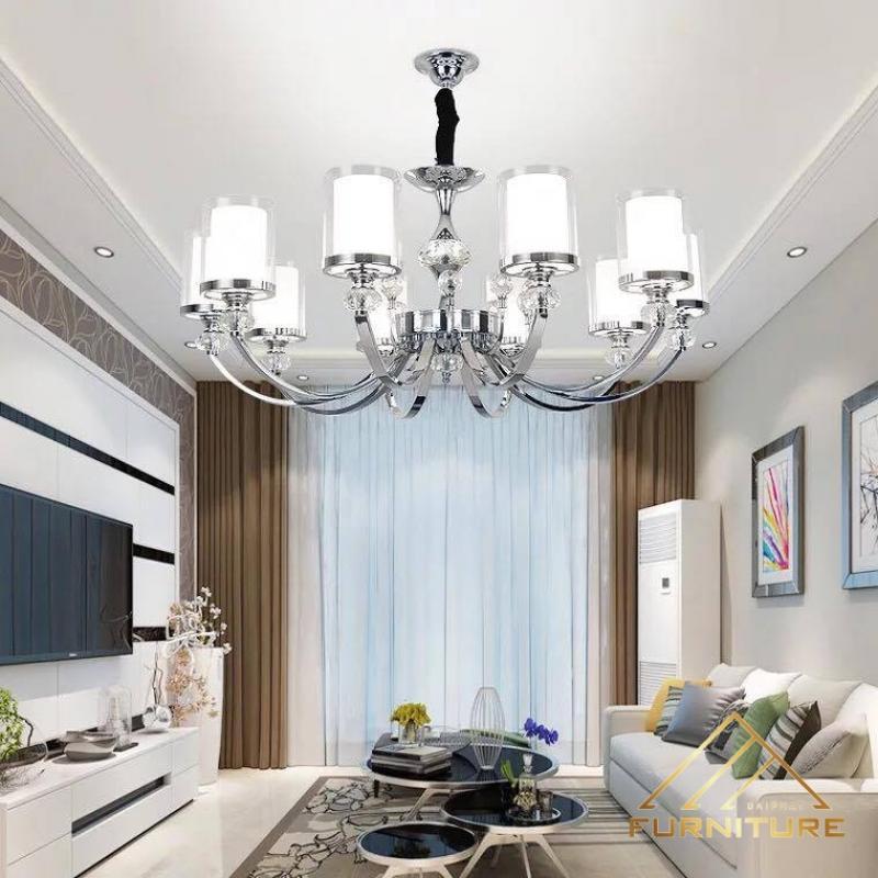 Xu hướng chọn đèn chùm pha lê trang trí phòng khách