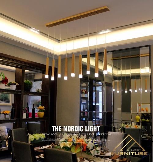 Đèn thả trần thanh gỗ hiện đại 034