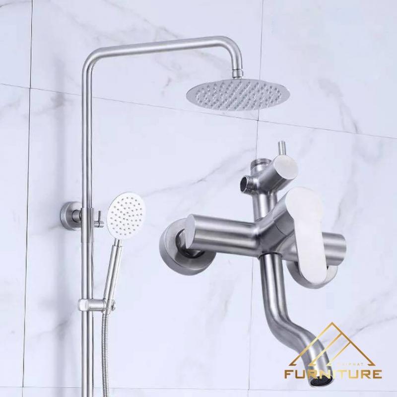 Bộ vòi sen tắm đứng nóng lạnh bát tròn 015