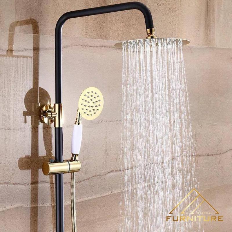 Bộ vòi sen tắm nóng lạnh mạ vàng cổ điển 025