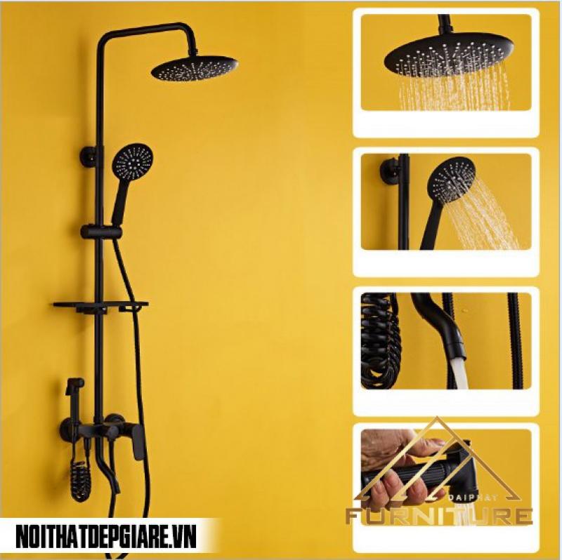 Bộ vòi sen tắm treo tường sơn đen 001