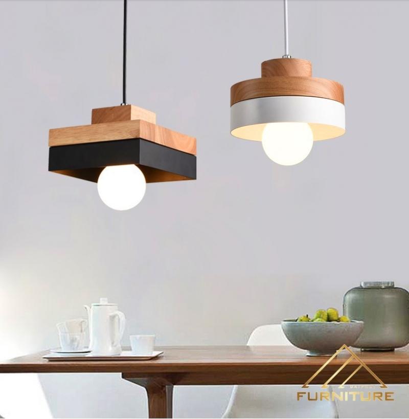 Đèn thả trần gỗ thanh tròn vuông sắt 045