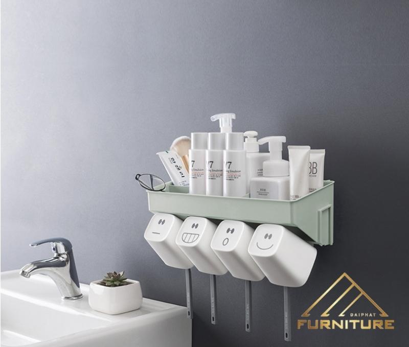 Kệ nhựa dán tường đựng đồ phòng tắm vệ sinh 015