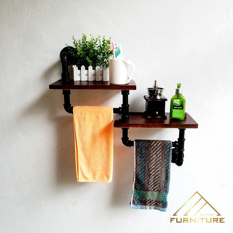 Phụ kiện phòng tắm kệ gỗ ống nước sắt Vintage đẹp 023