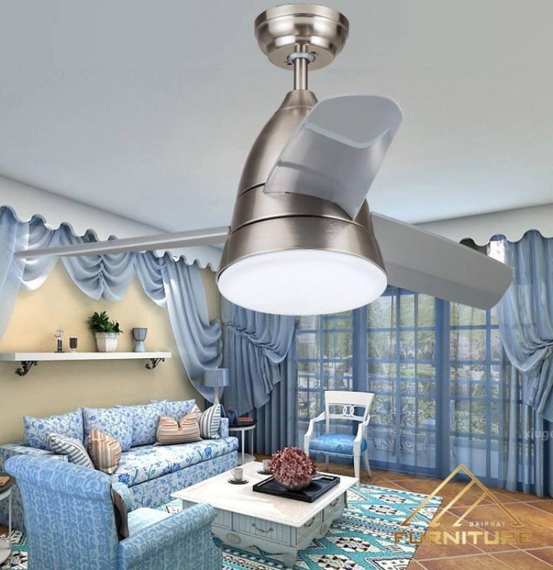 Quạt trần đèn 3 cánh phòng khách sang trọng 012