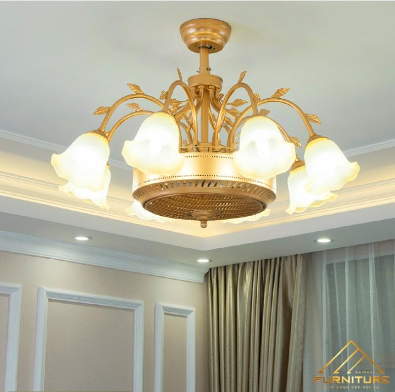 Quạt trần đèn chùm phòng khách độc đáo 026