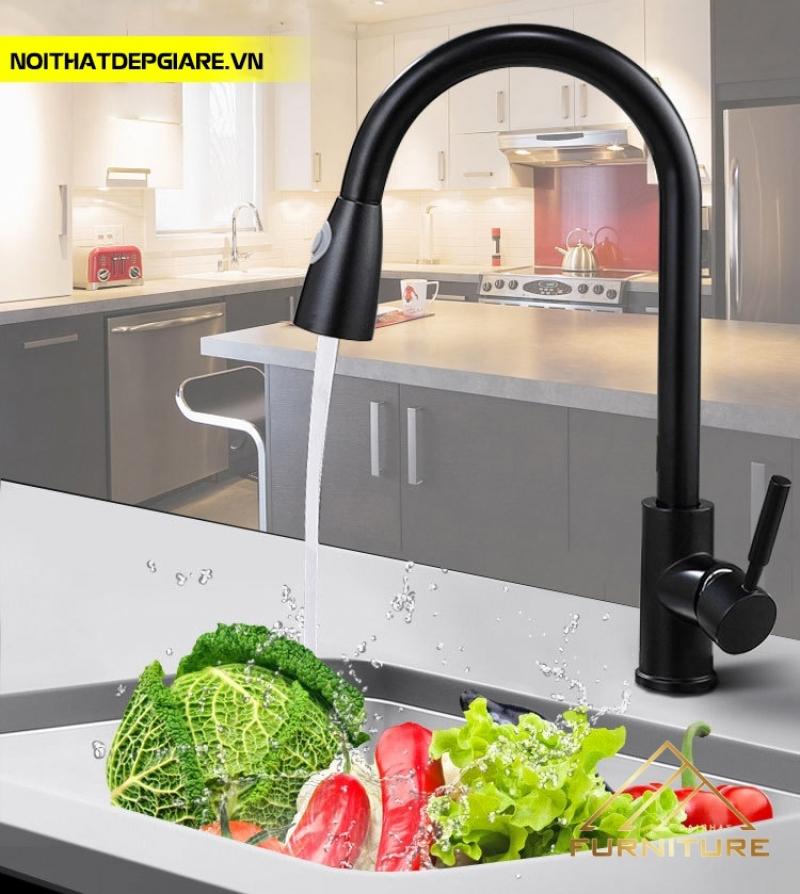 Vòi nước rửa chén kéo nóng lạnh Đen inox 018