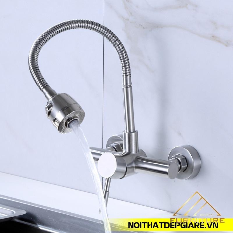 Vòi nước rửa chén nóng lạnh khóa trên dưới 010