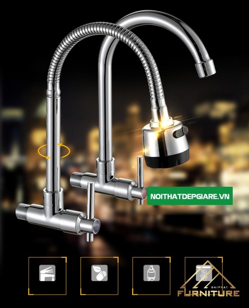 Vòi nước rửa chén nóng lạnh xoay 360 độ 015