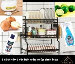 8 cách tẩy ố vết bẩn trên kệ inox để bồn rửa chén đơn giản