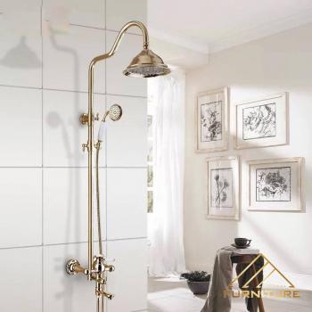 Bộ vòi sen tắm inox sơn Vàng phong cách cổ điển 050
