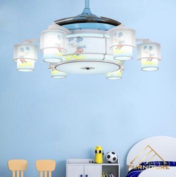 Quạt trần đèn trẻ em hình chuột mickey 6 bóng 42 inch 040