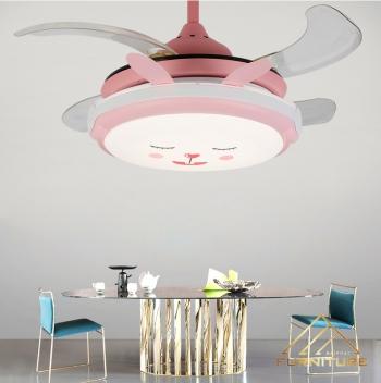 Quạt trần đèn trẻ em hình thỏ hồng 36 inch 039